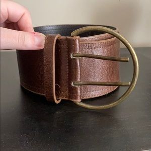 Wide brown faux leather belt